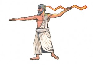 Zeus carrying lightning bolt